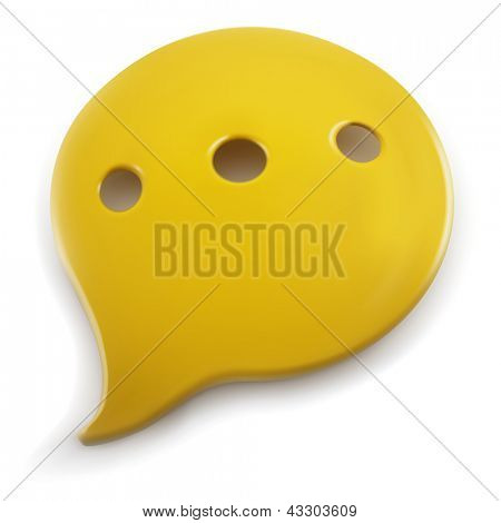 Plastic speech balloon isolated on white background.