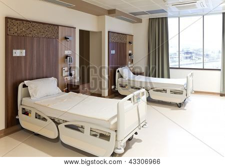 Modern equipped hospital room with two empty beds