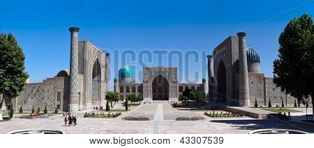 The Famous Registan Plaza Of Samarkand, Uzbekistan