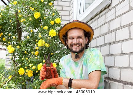 Man With Secateurs Near The Rose Bush