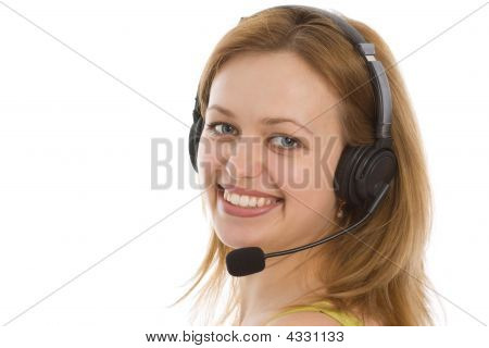 Young Caucasian Girl In The Call Center
