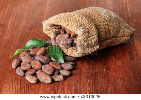 Cocoa beans in bag with leaves on wooden background