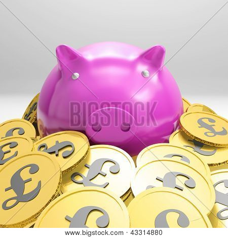 Piggybank Surrounded In Coins Showing Britain Wealth
