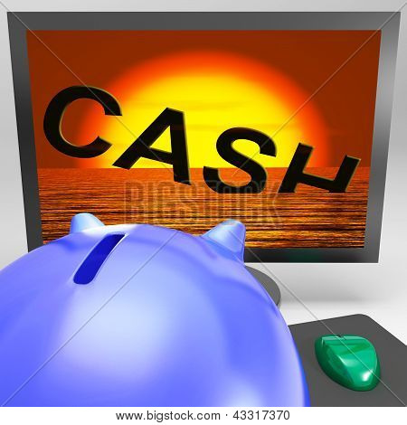 Cash Sinking On Monitor Showing Monetary Crisis