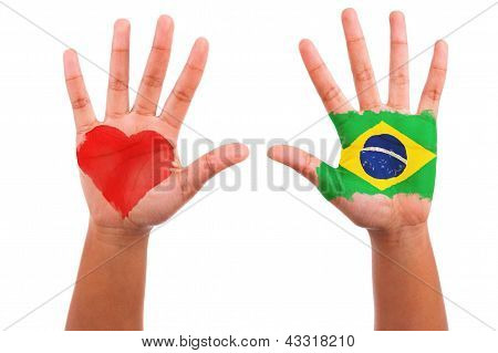 Brazilian Hands With A Painted Heart And Brazilian Flag, I Love Brazil Concept
