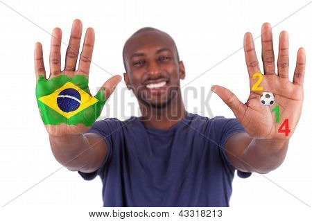 Brazilian Man Hands With A Painted Heart And  Brazilian Flag, I Love Brazil Concept