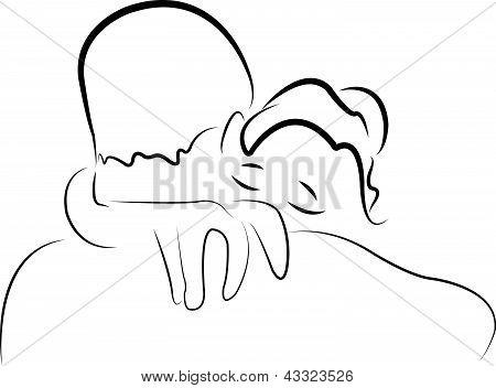 I miss you, big hug sketch, vector