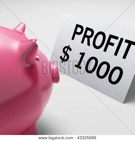 Profit Dollars Shows Revenue Earnings Piggy Savings