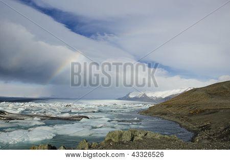 Rainbow over a glacier