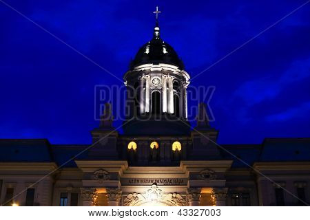 Stormy evening clouds over The Catholic Cathedral of Arad, Romania