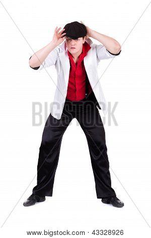 young gangster man isolated on white