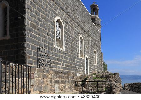 The Church of the Primacy - Tabgha. The Holy Church was built on the Sea Gennesaret. Jesus then fed with bread and fish hungry people. Benedictine monastery