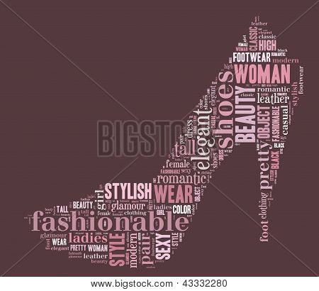 woman shoe tag cloud illustration