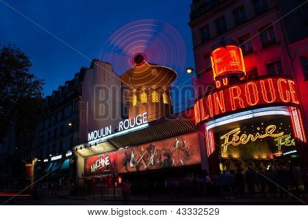 Moulin Rouge Cabaret At Night