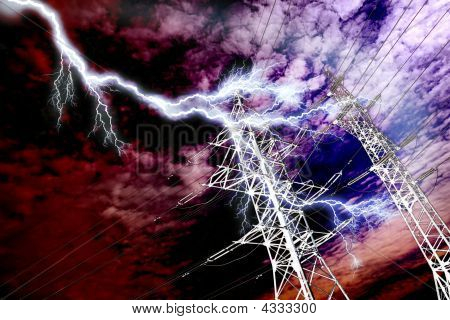 Lightning Strike To Power Line Pillar