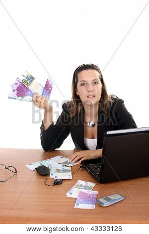 happy businesswoman with euros bills