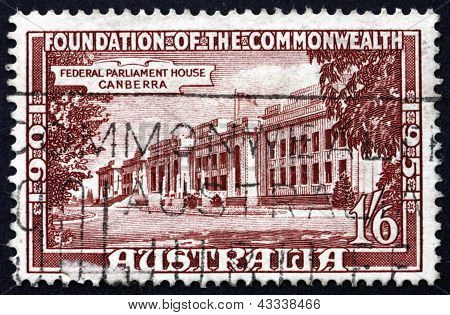 Postage Stamp Australia 1951 Parliament House, Canberra