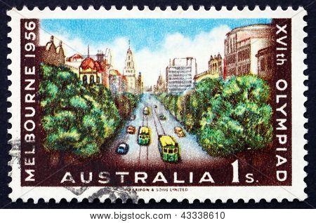 Postage Stamp Australia 1956 Collins Street, Melbourne