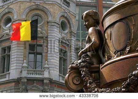Belgian Statue Of A Boy In Antwerp