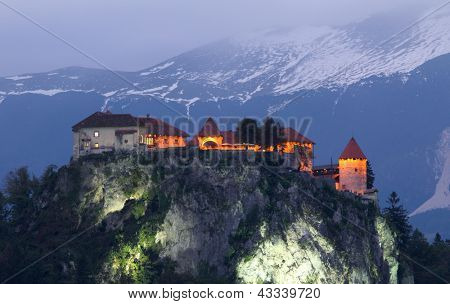 Bled castle at evening  , Alps, Europe, Slovenia.