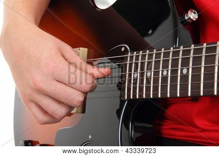 Acoustic guitar with hands, Musical instrument with teen's hands