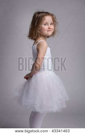 Beautiful Little Girl In A Ballet Dress