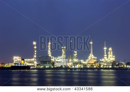 Oil refinery site with twilight