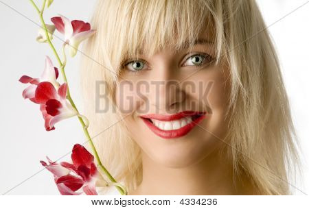 Red Lips And Flower