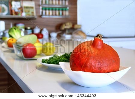 Fruit And Vegetables In The Well Designed Modern Kitchen