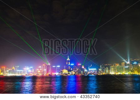 Hong Kong Famous Laser Harber Show Seen From Kowloon