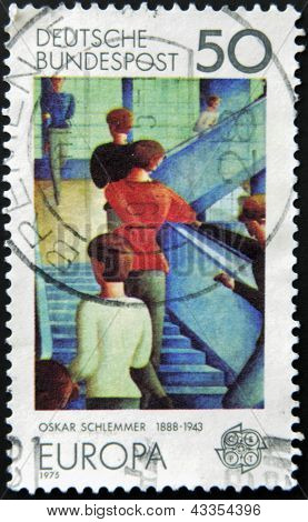 a stamp printed in the Germany shows Bauhaus Staircase painting by Oskar Schlemmer