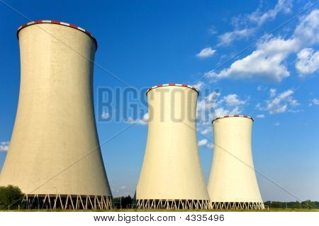 Tree Cooling Towers Of Nuclear Power Plant
