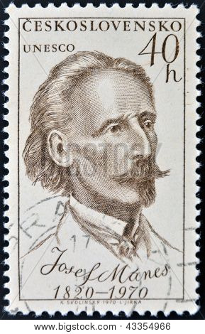 A stamp printed in Czechoslovakia shows Josef Manes
