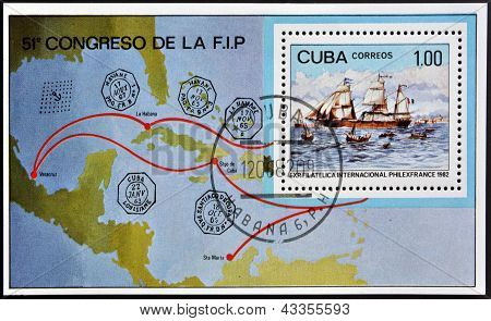 A stamp printed in Cuba shows a French sailboat and the map of Central America
