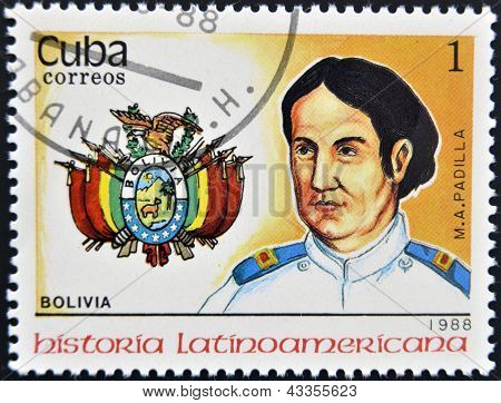 A stamp printed in Cuba shows chief M. A. Padilla Bolivia