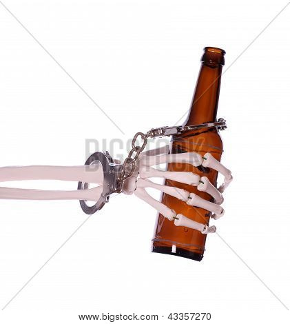 Alcoholism To Death With Handcuff And Bottle