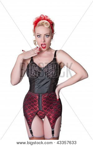 Shocked Retro Blond In Vintage Lingerie - Isolated On White