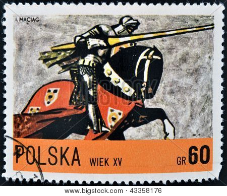 A stamp printed in Poland dedicated to Polish horse riding shows W?adys?aw rider