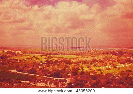 Unrealistic Vintage Landscape Postcard