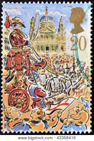 stamp printed in Great Britain dedicated to Lord Mayor's Show London shows Royal Mail Coach