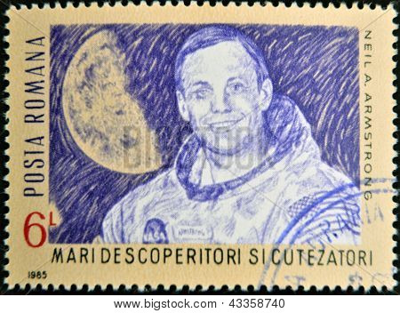 A stamp printed in romania shows Neil Armstrong