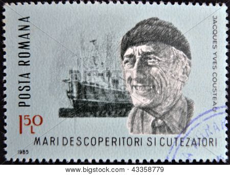 stamp printed in Romania show Jacques Yves Cousteau research vessel Calypso