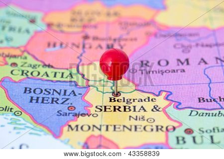 Red Pushpin On Map Of Serbia