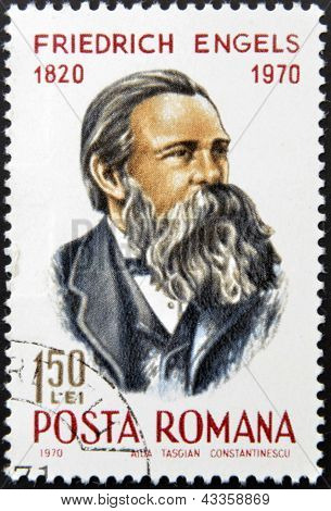 stamp printed in Romania show Friedrich Engels