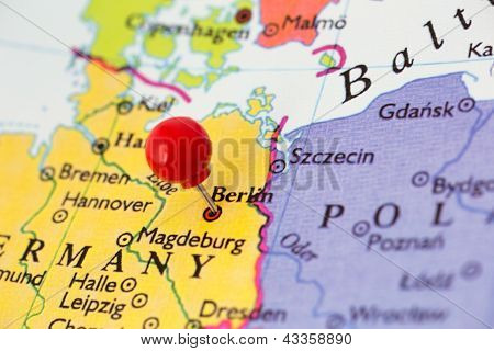 Red Pushpin On Map Of Germany