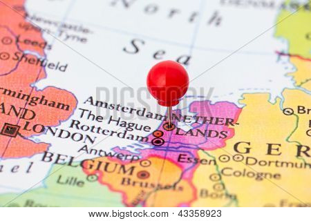 Red Pushpin On Map Of Netherlands