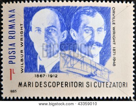 stamp printed in Romania shows Wilbur Wright and Orville Wright