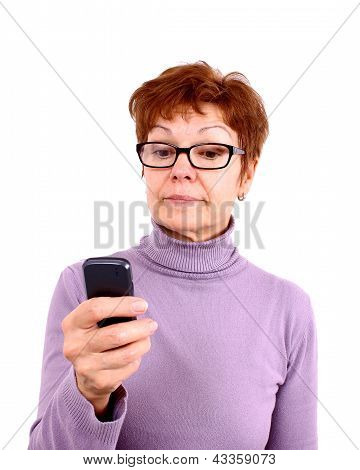 Attractive Mature Woman With Mobile Phone