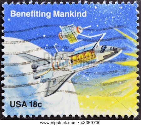 stamp printed in the USA shows Benefiting Mankind