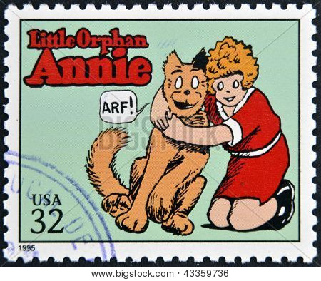 stamp printed in USA dedicated to comic strip classics shows Little Orphan Annie